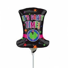 "Balon mini figurina joben ""It's party time"" - 23cm, umflat + bat si rozeta, Amscan 2517502"
