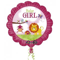 Baby Girl Safari Foil Balloon - 18''/45 cm, Amscan 2684001