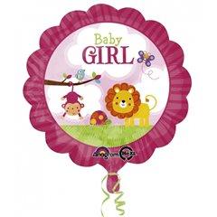 Balon folie 45cm Baby Girl Safari, Amscan 2684001