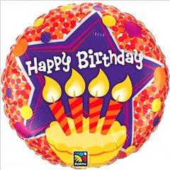 Balon Folie 45 cm Happy Birthday Candles, Qualatex 60856