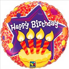 Happy Birthday Candles Foil Balloon - 18''/45cm, Qualatex 60856
