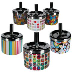 Metal push down ashtray with multicoloured design, OOTB 29/3390