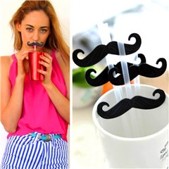 Transparent plastic drinking straws with moustache, OOTB 71/2816, Pack of 4 pieces