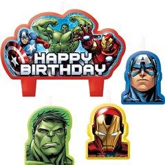 Lumanari pentru tort cu figurine Avengers, Amscan RM171354-55, Set 4 buc