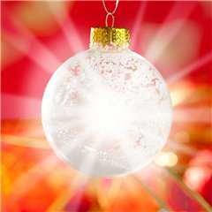 Silver Glass Christmas Bauble with LED light, OOTB 938868