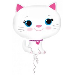 Kitten-White Super Shape Foil Balloon - 43x51cm, Amscan A27728ST