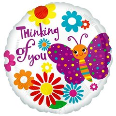 "Balon folie 45cm cu fluturi ""Thinking of You"", Amscan 2675701"