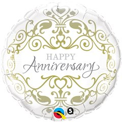 "Happy Anniversary Foil Balloon - 18""/45cm, Qualatex 36491"