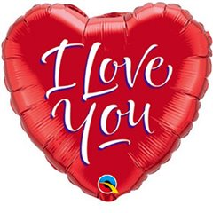Balon Mini Folie Inima I love You, umflat + bat si rozeta, Qualatex 29131