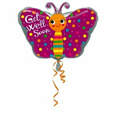 "Get Well Butterfly Junior Shape Foil Balloon - 18""/45cm, Amscan 2680801"
