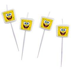 Lumanari pentru tort cu figurine SpongeBob, Amscan 997785, Set 4 buc