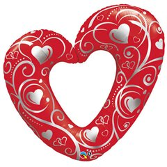 "14"" Shape Foil Hearts & Filigree Red - 14""/36cm, Qualatex 40489"