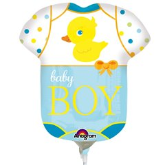 Balon mini figurina Baby Boy - 23cm + bat si rozeta, Amscan 2886602