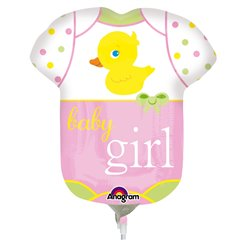 Balon mini figurina Baby Girl - 23cm+ bat si rozeta, Amscan 2886702