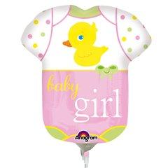 Balon mini figurina Baby Girl - 23cm+ bat si rozeta, Amscan 2886702