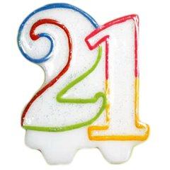 Lumanare aniversare 21 ani pentru tort, Amscan I996453