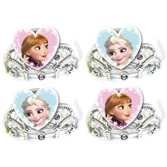 Coronite de printese tip pieptene cu Frozen, Amscan 999269, Set 4 buc