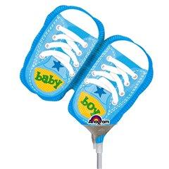 "Balon mini figurina botosei bleu ""Baby Boy"" - 23cm + bat si rozeta, Amscan 2886902"
