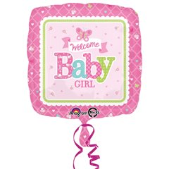 Balon folie 45cm Welcome Baby Girl Butterfly, Amscan 30747