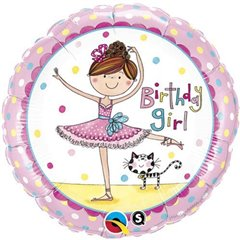 "Round Birthday Girl Foil Balloon - 18""/45 cm, Qualatex 50542"
