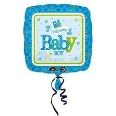 "Welcome Baby Boy Train Standard Foil Balloon - 18""/45cm, Amscan 3074601"
