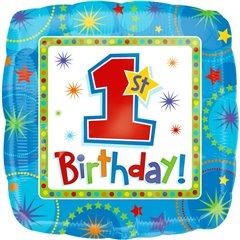 Balon folie 45cm 1st Birthday Boy + greutate, Amscan 119290-01, 1 buc