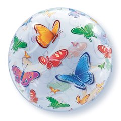 "Balon Bubble 22""/56cm cu Fluturi, Qualatex 15607"