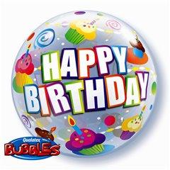 "Balon Bubble 22""/56cm Colorful Cupcakes Birthday, Qualatex 30799"