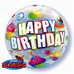 Colorful Cupcakes Birthday Bubble Balloon - 22''/56cm, Qualatex 30799