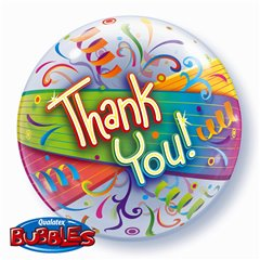 "Balon Bubble 22""/56cm Thank You, Qualatex 27500"