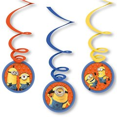Minions Swirls Decorations, Amscan 998095, Pack of 6 pieces