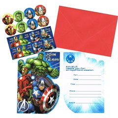 Avengers 8 Invites & Envelopes, Amscan 999250, Pack of 8 pieces