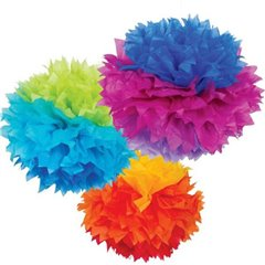 Rainbow Fluffy Paper Decorations - 40cm, Amscan 18056-90-55, Pack of 3 pieces