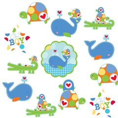 Ahoy Baby Blue Value Pack Cutouts, Amscan 191127, 12 pieces