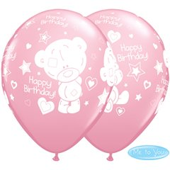 "Baloane latex roz 11""/28cm - Me to You Birthday, Qualatex 12562, Set 25 buc"