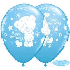 "Baloane latex 11""/28cm Pale Blue - Me to You Birthday, Qualatex 12563, Set 25 buc"