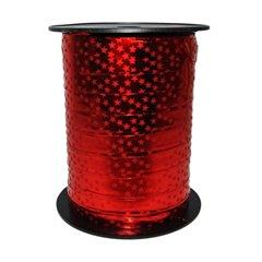 Red Metallic with stars Curling Ribbon 10mm x 150m, Radar B49419