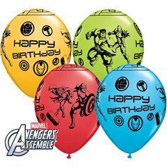 "11"" Round Assorted Happy Birthday Avengers, Qualatex 18674, Pack of 25 pieces"