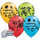 Baloane latex 11''/28cm Avengers - Happy Birthday, Qualatex 18674, Set 25 buc