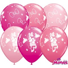 "11"" Printed Latex Balloons - Minnie Mouse, Qualatex 18685, Pack of 25 Pieces"