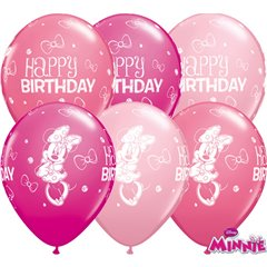 """11"""" Printed Latex Balloons - Minnie Mouse Happy Birthday, Qualatex 18686, Pack of 25 Pieces"""