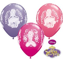 "11"" Printed Latex Balloons - Sofia the First, Qualatex 18707, Pack of 25 Pieces"