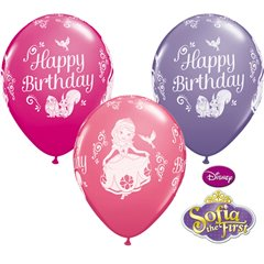 "11"" Printed Latex Balloons, Sofia the 1st Happy Birthday, Qualatex 18708, Pack of 25 Pieces"