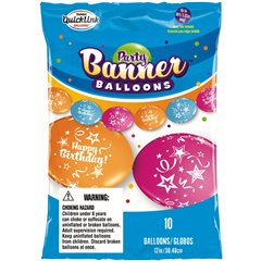 Quick Links & Party banner Happy Birthday - 3.05m, Qualatex 19633, Pack of 10 pieces