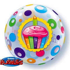 "Balon Bubble 22""/56cm Happy Birthday, Qualatex 23606"