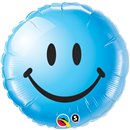 Sweet Smile Face Blue Foil Balloon - 45cm, Qualatex 29640