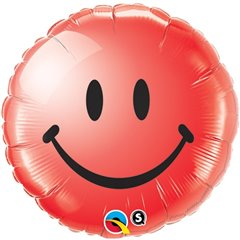 Balon Folie 45 cm Red Smiley Face, Qualatex 29636