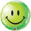 Balon Folie 45 cm Green Smiley Face, Qualatex 29628
