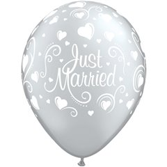 """11"""" Silver Printed Latex Balloons - Just Married, Qualatex 18653"""