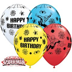 "Baloane latex 11"" Spiderman Happy Birthday asortate, Qualatex 18672, Set 25 buc"